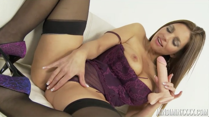 Mindi Mink Looking Sexy In Purple Lingerie Dildo'ing Herself